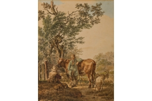 Jacob Cats (Altona 1741-1799 Amsterdam) Two shepherds with a flock of sheep and a bull