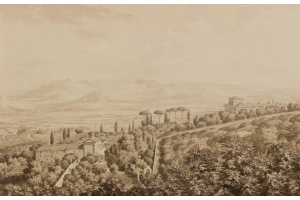 Jean Grandjean (Amsterdam, 1752-Rome, 1781) View on Frascati and villa d'Este, seen from villa Conti