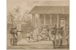 Reinier Vinkeles (Amsterdam 1741-1816 Amsterdam) Jacob Haafner conversing with the 'Jammedaar' in Alamparvé, Ceylon, Jacob Haafner with Anna and the two girls land on the island Caradiva.