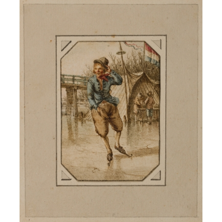 Jacob Cats (Altona 1741-1799 Amsterdam) A young man skating with a koek-and-zoopie in the background