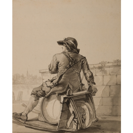 Jacob van Strij (Dordrecht, 1756 - 1815) Man sitting on a wheelbarrow with a beer keg (c. 1787)