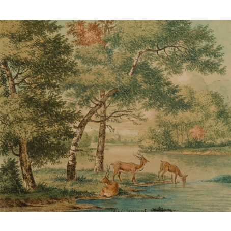 Josua de Grave (Amsterdam, 1643-The Hague, 1712) A forest with resting deer (1708)