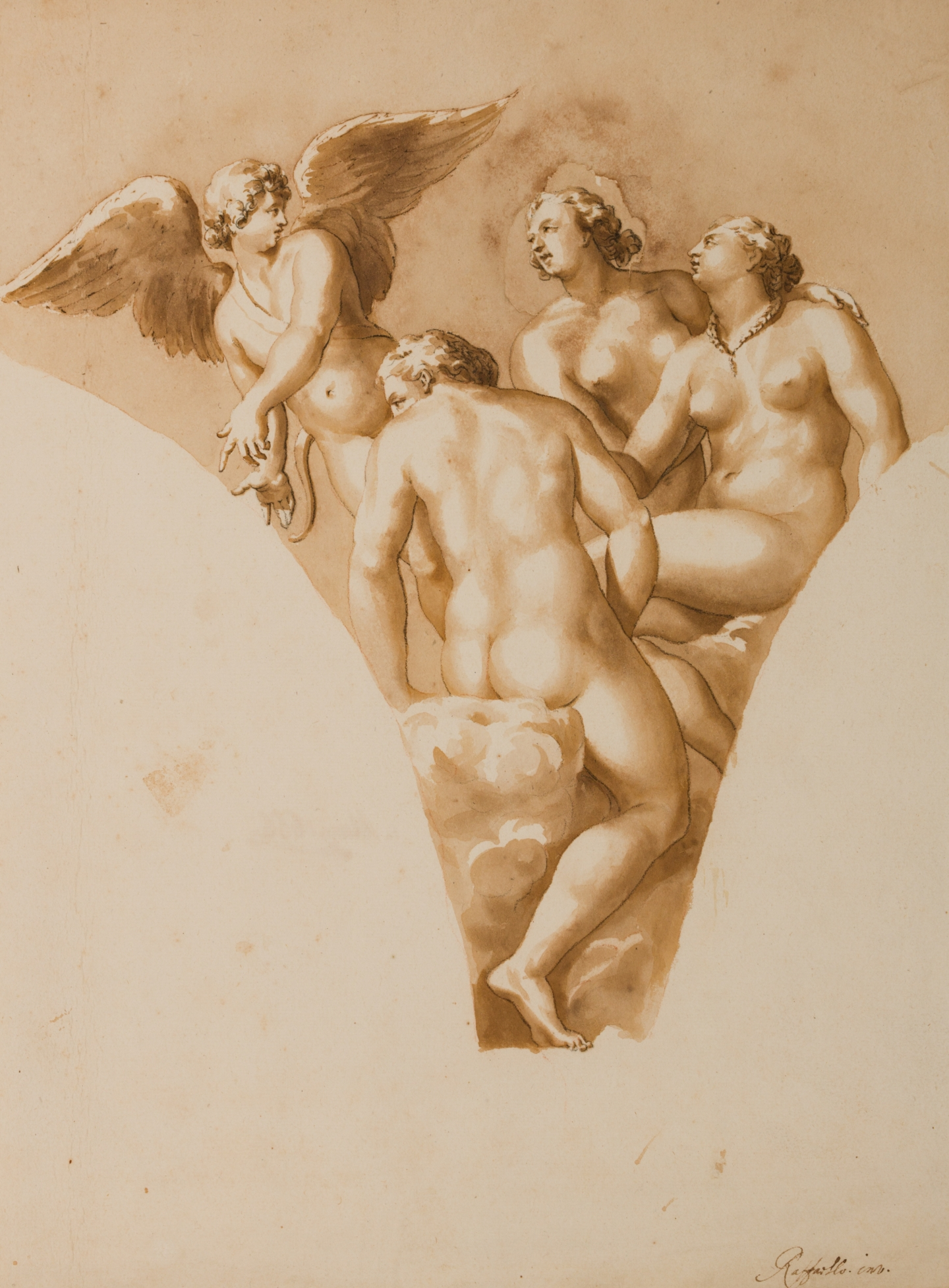 Jan de Bisschop (Amsterdam 1628-1671 The Hague) Cupid and the three Graces (after Raphael)