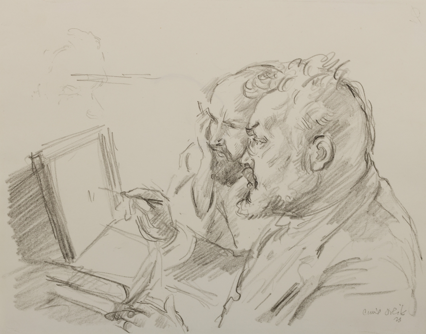Emil Orlik (Prague 1870-1932 Berlin) Max Slevogt and his collector Dr. Josef Grünberg (1923)