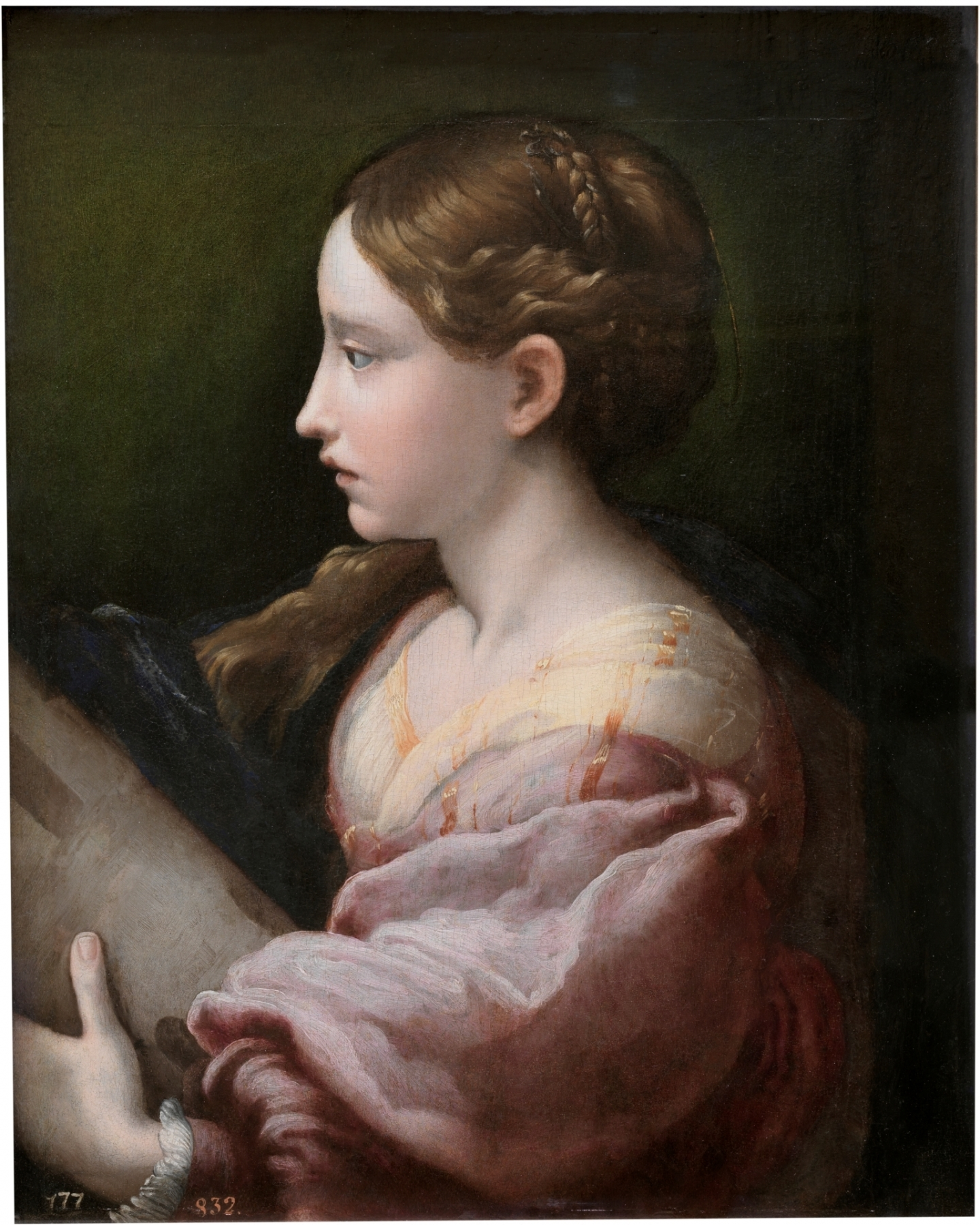 Jan de Bisschop (Amsterdam 1628-1671 Den Haag) Saint Barbara (after Parmigianino)