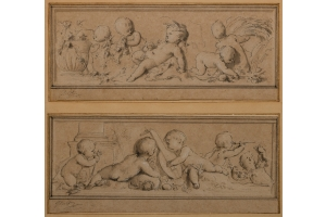 Jacob de Wit (Amsterdam, 1695-1754) Allegory of spring and summer and allegory of the five senses (Two designs for the countryhouse of Jan Hüdde Dedel (Amsterdam, 1702-The Hague, 1777), mayor of The Hague)
