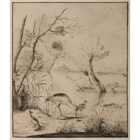 Pieter Jansz. van Ruyven (Delft 1651-1719 Delft) Dune landscape with willow trees, a heron, frog, avocet and ducks