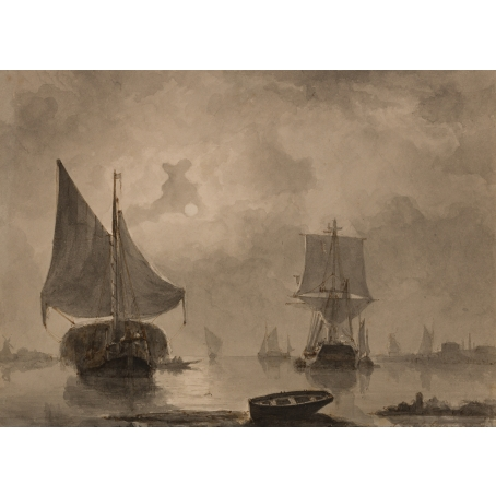 François Carlebur (Dordrecht, 1821-1893) Moored ships at full moon