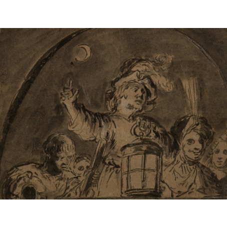 Leonaert Bramer (Delft 1596-1674 Delft) Commedia dell'arte actors, c. 1616-1627 (recto), Young musicians in a lodge (recto)
