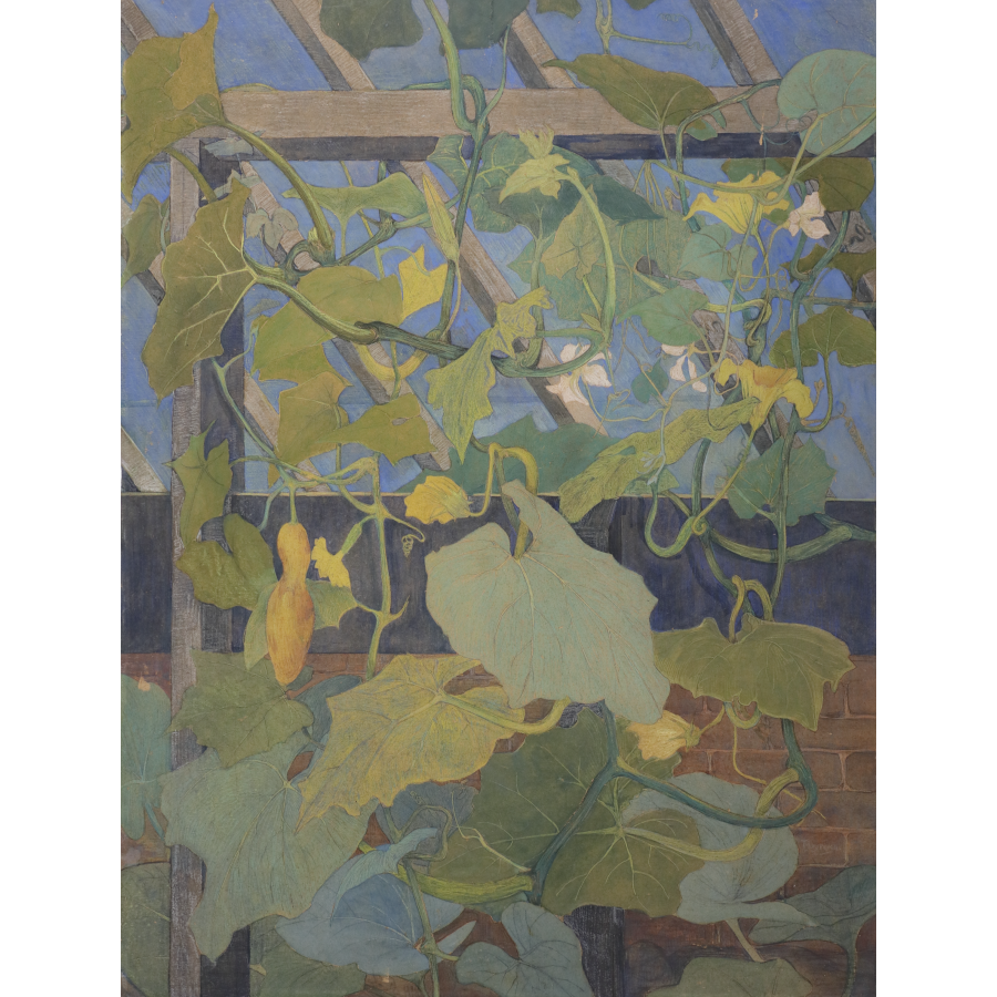 Theo van Hoytema (Den Haag 1863-1917 Den Haag) Greenhouse with ornamental gourds